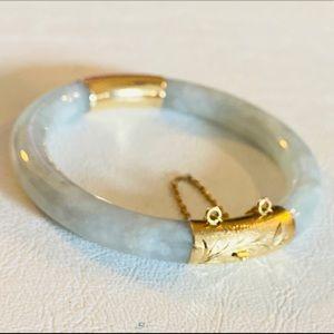 Genuine Jade 14kt Hinge Bangle Bracelet